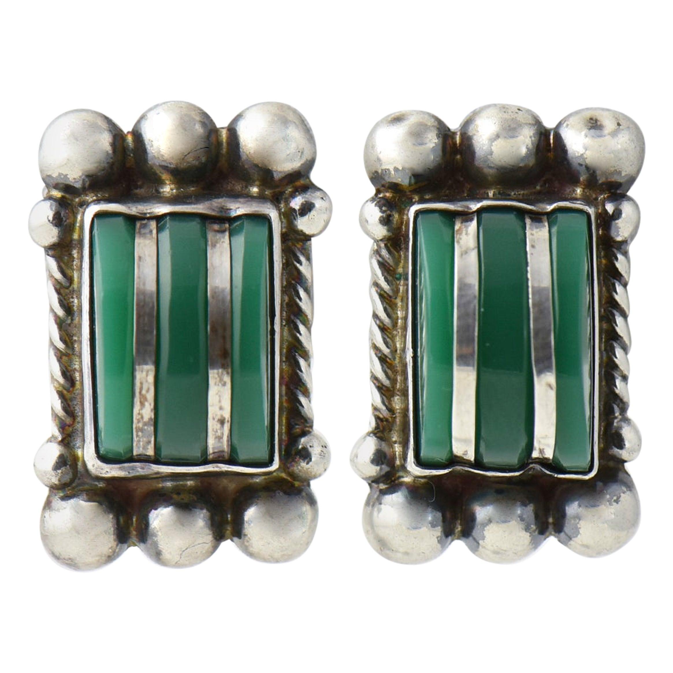 Modernist Green Onyx Sterling Silver Earrings