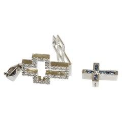 Tsavorite, Sapphire and Diamond Cross in 18 Karat White Gold
