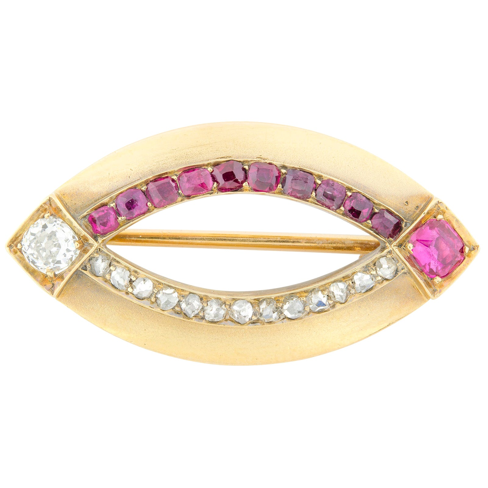 Fabergé Ruby and Diamond Set Brooch in Yellow Gold
