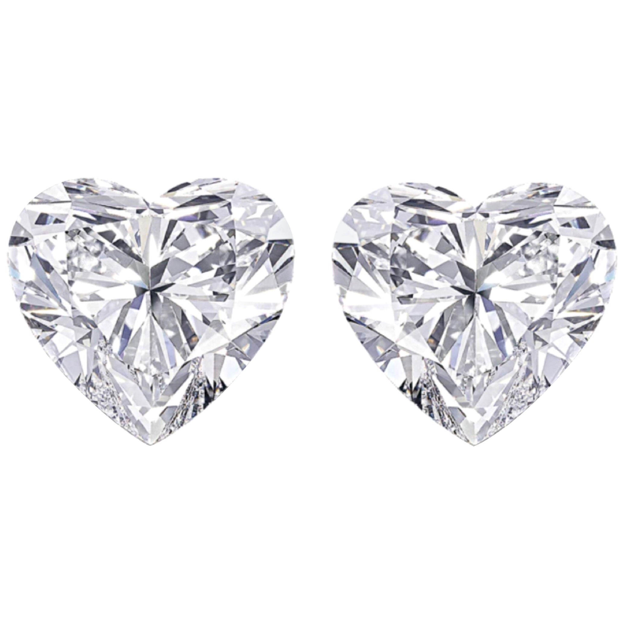 Internally Flawless D/E Color Heart Shape Diamond 3.01 Carat Studs