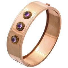 Amethyst Gold Bangle Bracelet