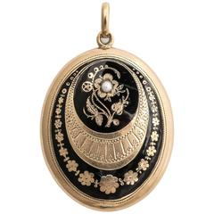 Elegantly Enameled Floral Locket