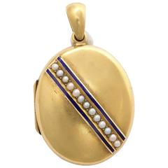 Seed Pearl and Enamel Victorian Locket