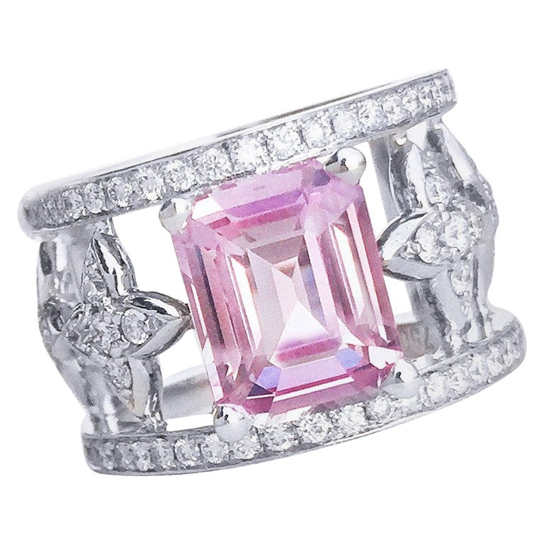 JdJ Couture Emerald Cut Pink Sapphire and Diamond Ring in 18 Karat White Gold