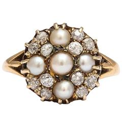 Fabulous Natural Pearl, Diamond Cluster Ring