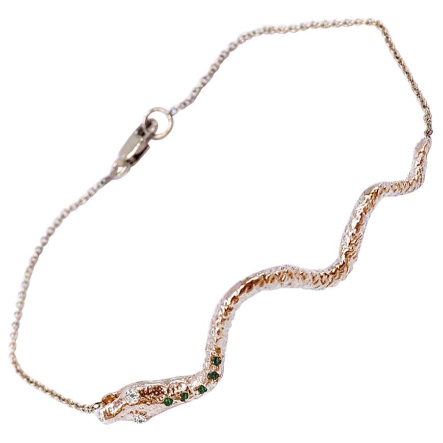 White Diamond Emerald Gold Snake Bracelet Gold Chain J Dauphin