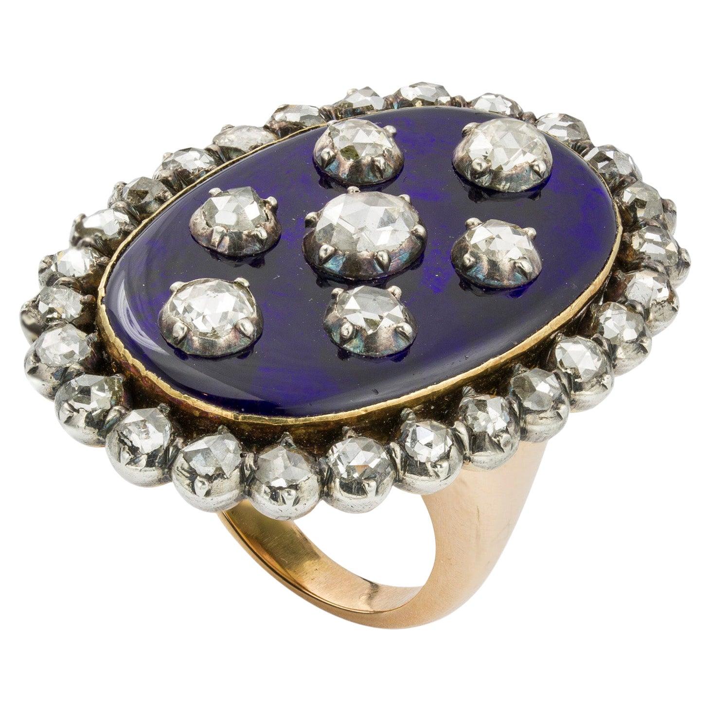 Georgian Blue Enamel and Diamond Ring