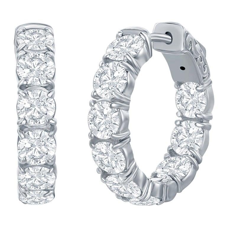 6 Carat Diamond Hoop Earrings White Gold