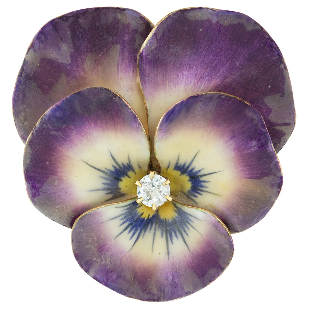 Antique Enamel and Diamond Pansy Brooch