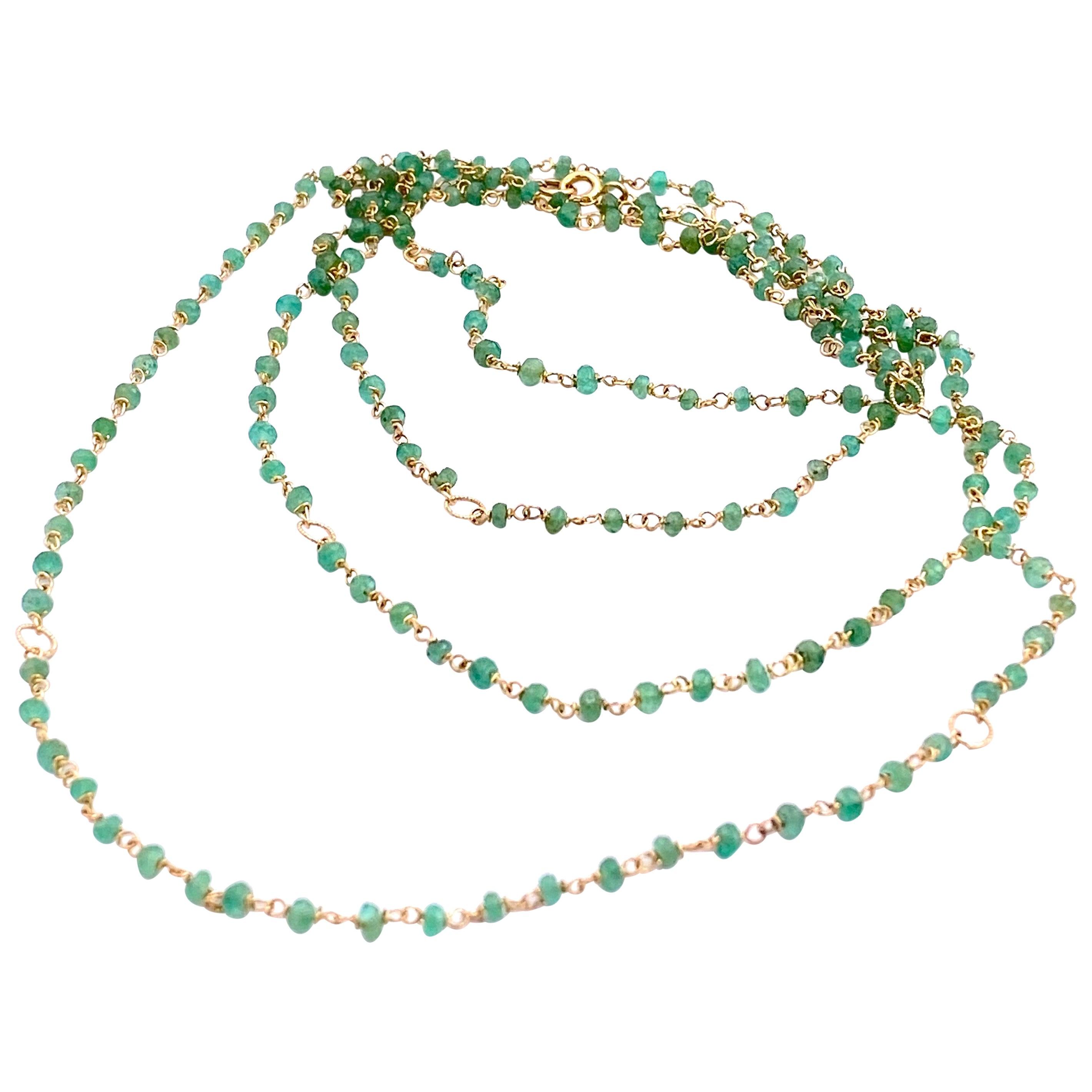 Art Deco Style 18Karat Gold 45karat Emeralds Twisted Chain Beaded Necklace
