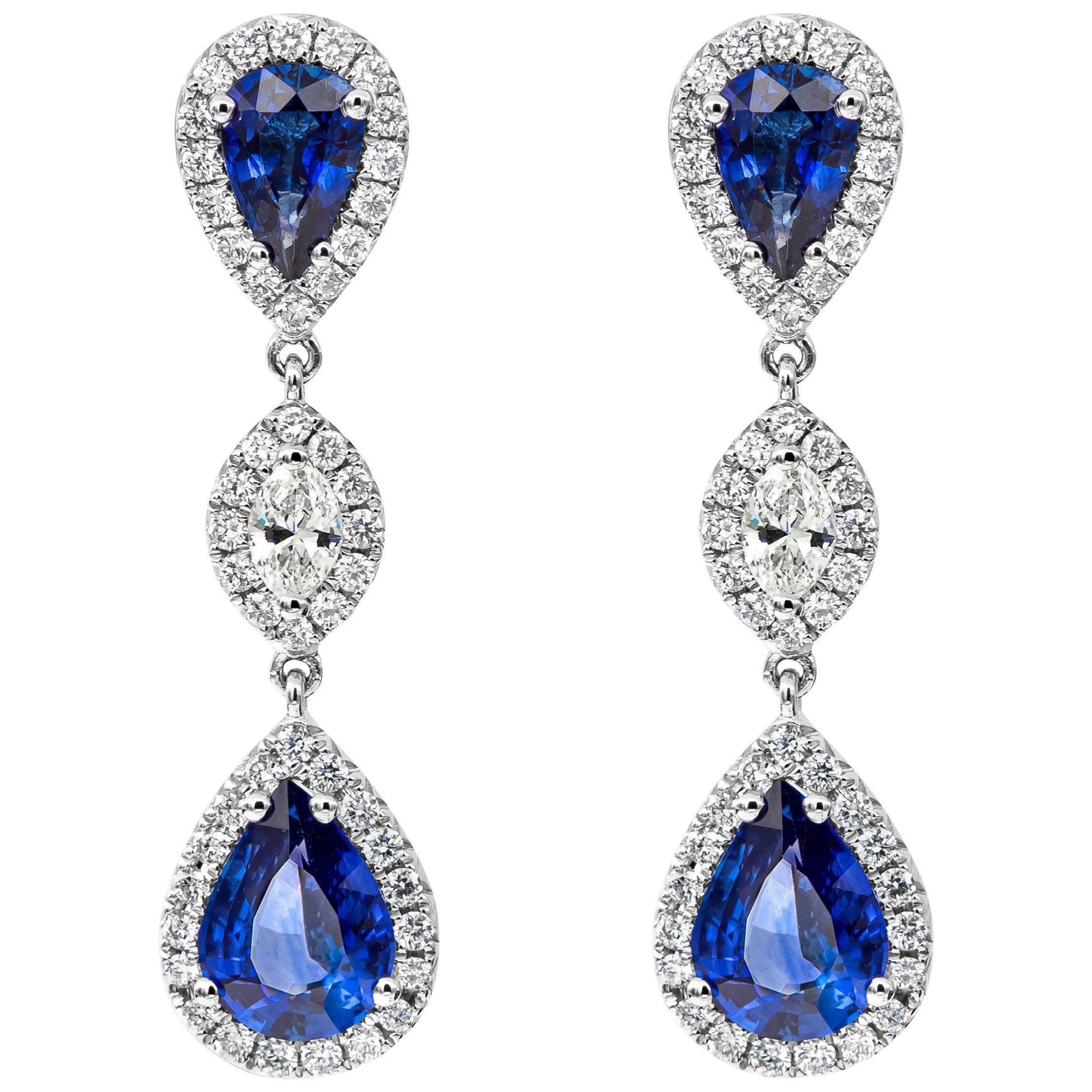 Pear Shape Blue Sapphire and Diamond Dangle Drop Earrings
