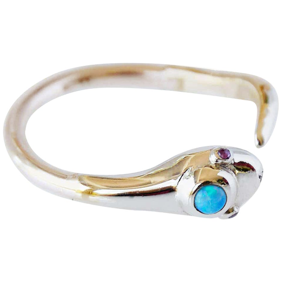 Opal Ruby Gold Snake Ring Victorian Style Cocktail Ring J Dauphin