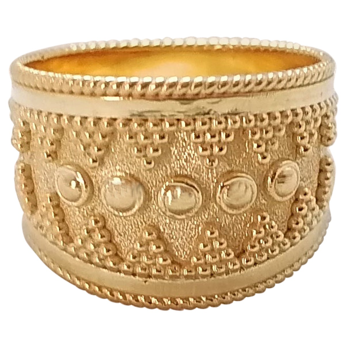 Georgios Collections 18 Karat Yellow Gold Byzantine-Style Wide Band Ring