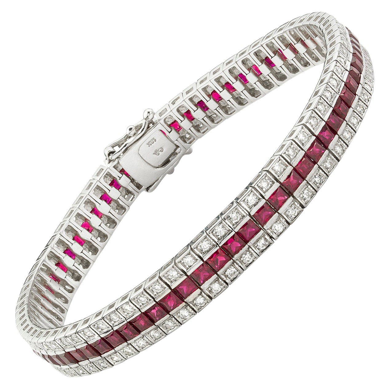 Ruby and Diamond Three Line Bracelet