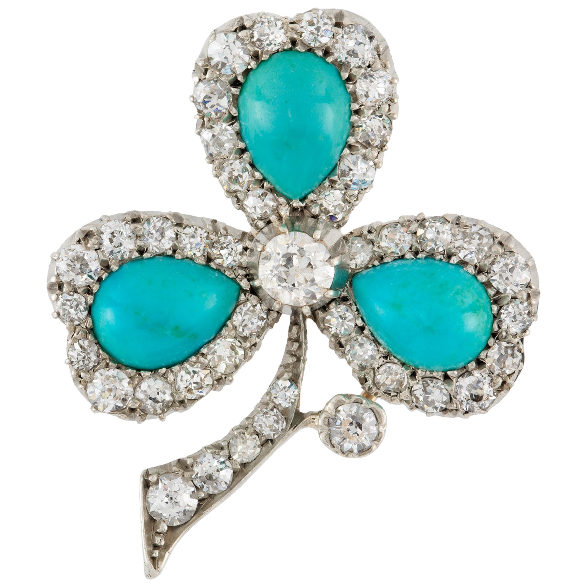 Late Victorian Turquoise and Diamond Clover Leaf Brooch