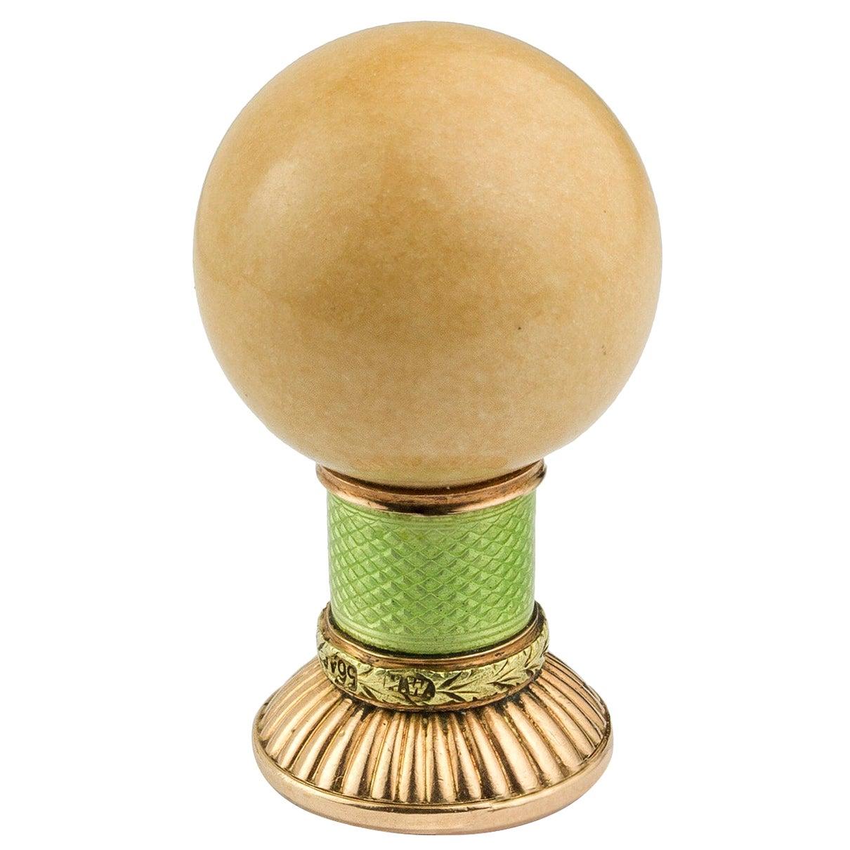 Faberge Gold, Enamel and Hardstone Desk Seal