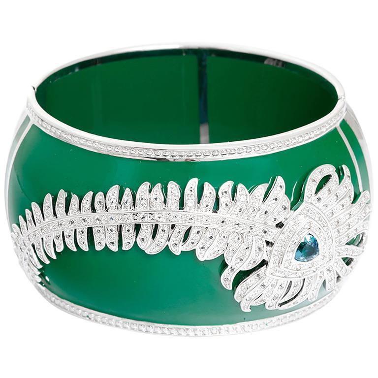Miriam Salat Green Resin Peacock Topaz Sterling Silver Cuff Bracelet