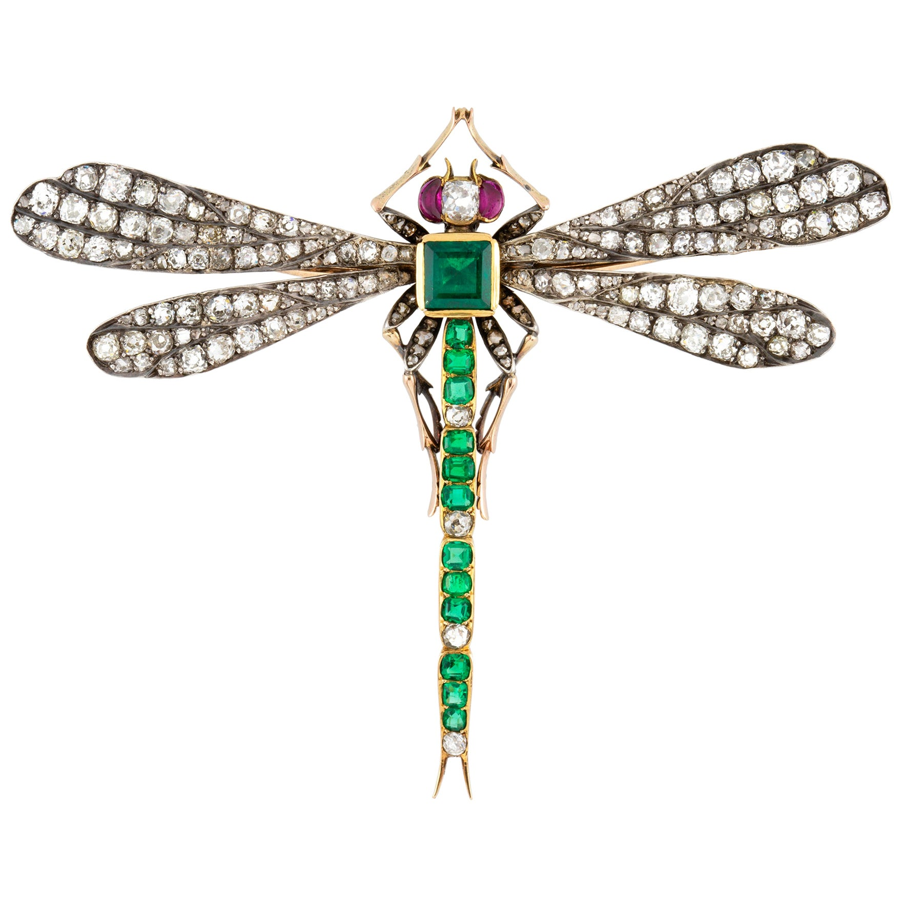 Victorian Emerald, Diamond and Ruby Dragonfly Brooch