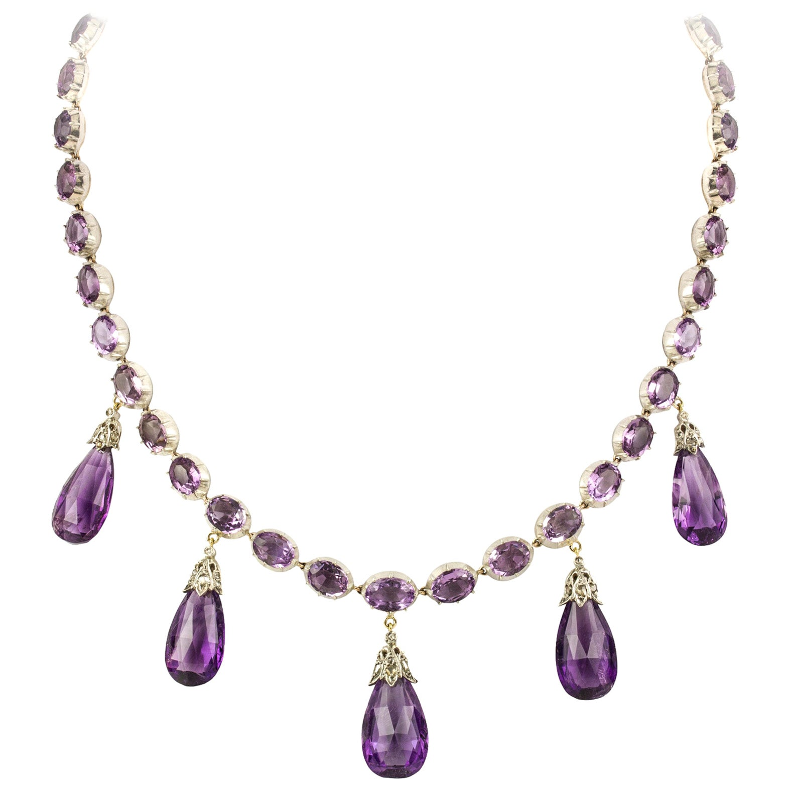 Late Victorian Amethyst Necklace and Earrings