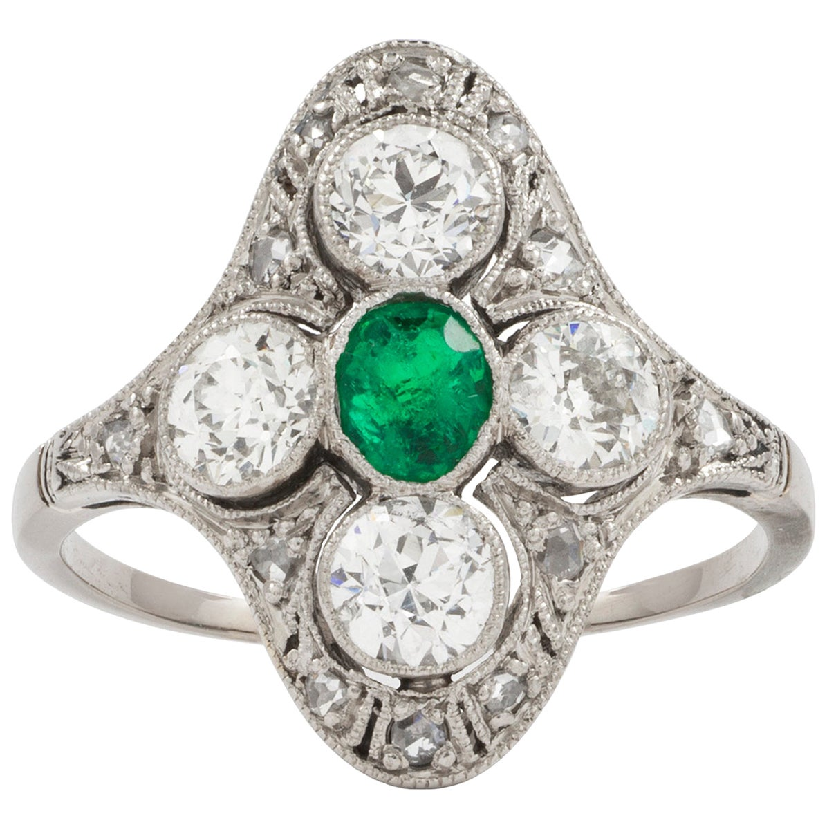 Edwardian Emerald and Diamond Plaque Ring