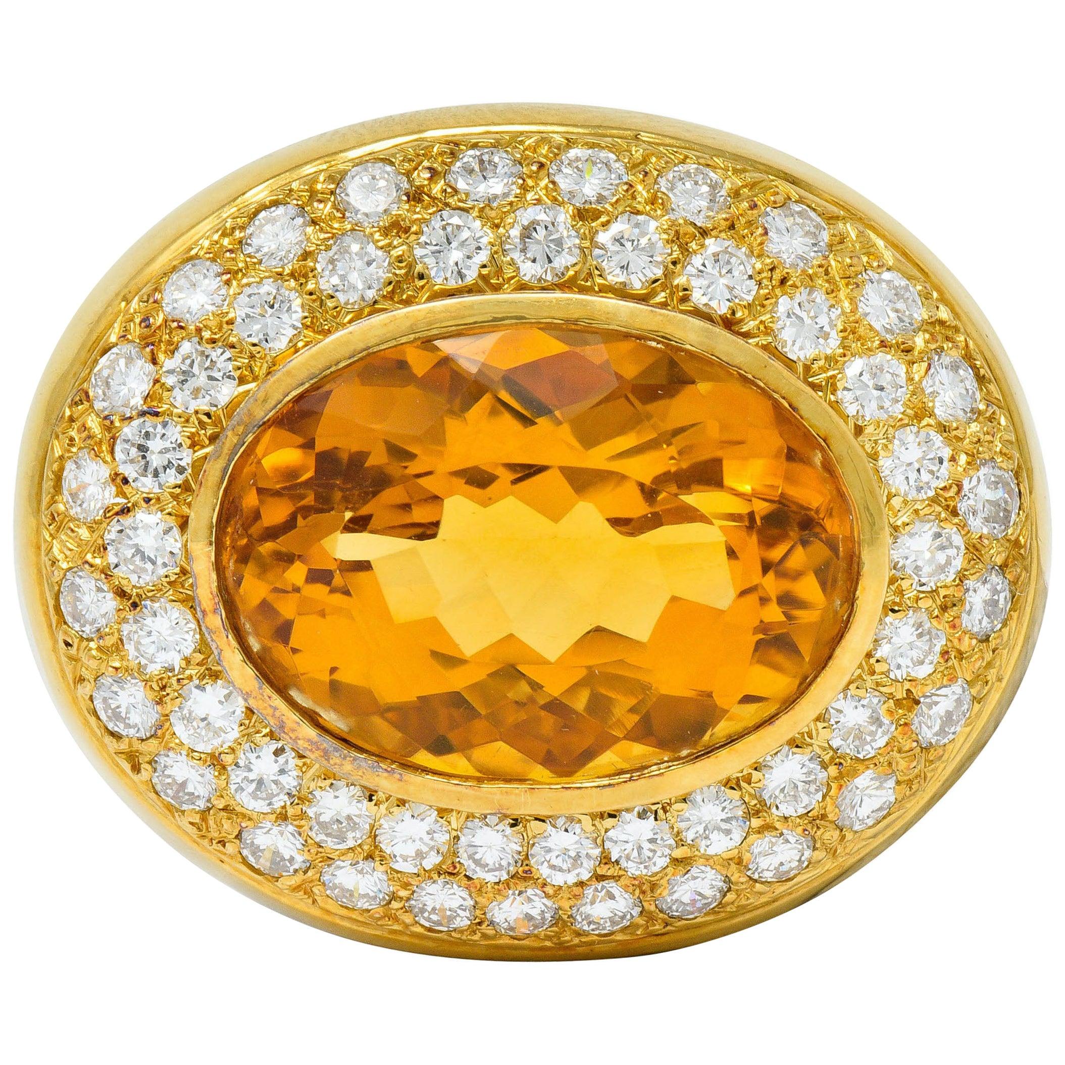 1960s Vintage Citrine Pave Diamond 18 Karat Gold Oval Brooch
