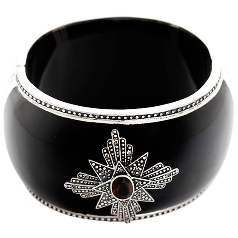 Miriam Salat Black Resin Two Color Topaz Sterling Silver Medallion Cuff Bracelet
