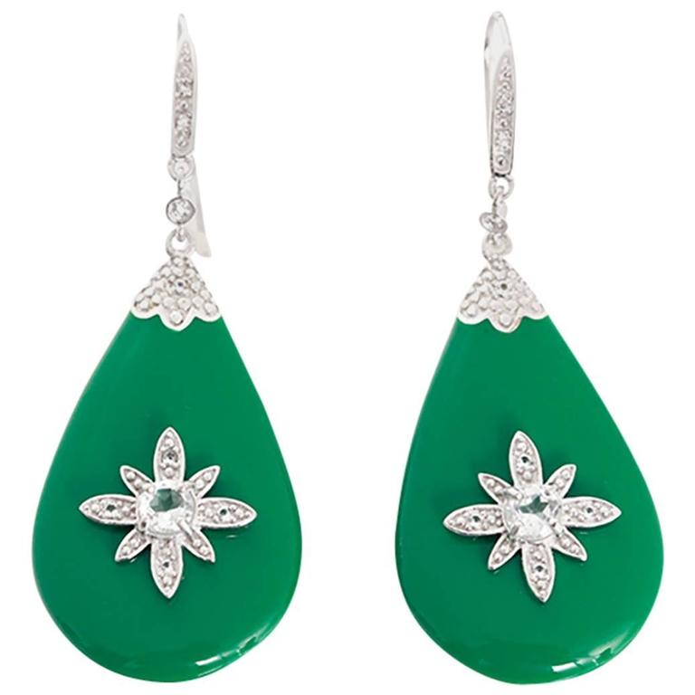 Miriam Salat green resin topaz Sterling Silver starburst dangle earrings