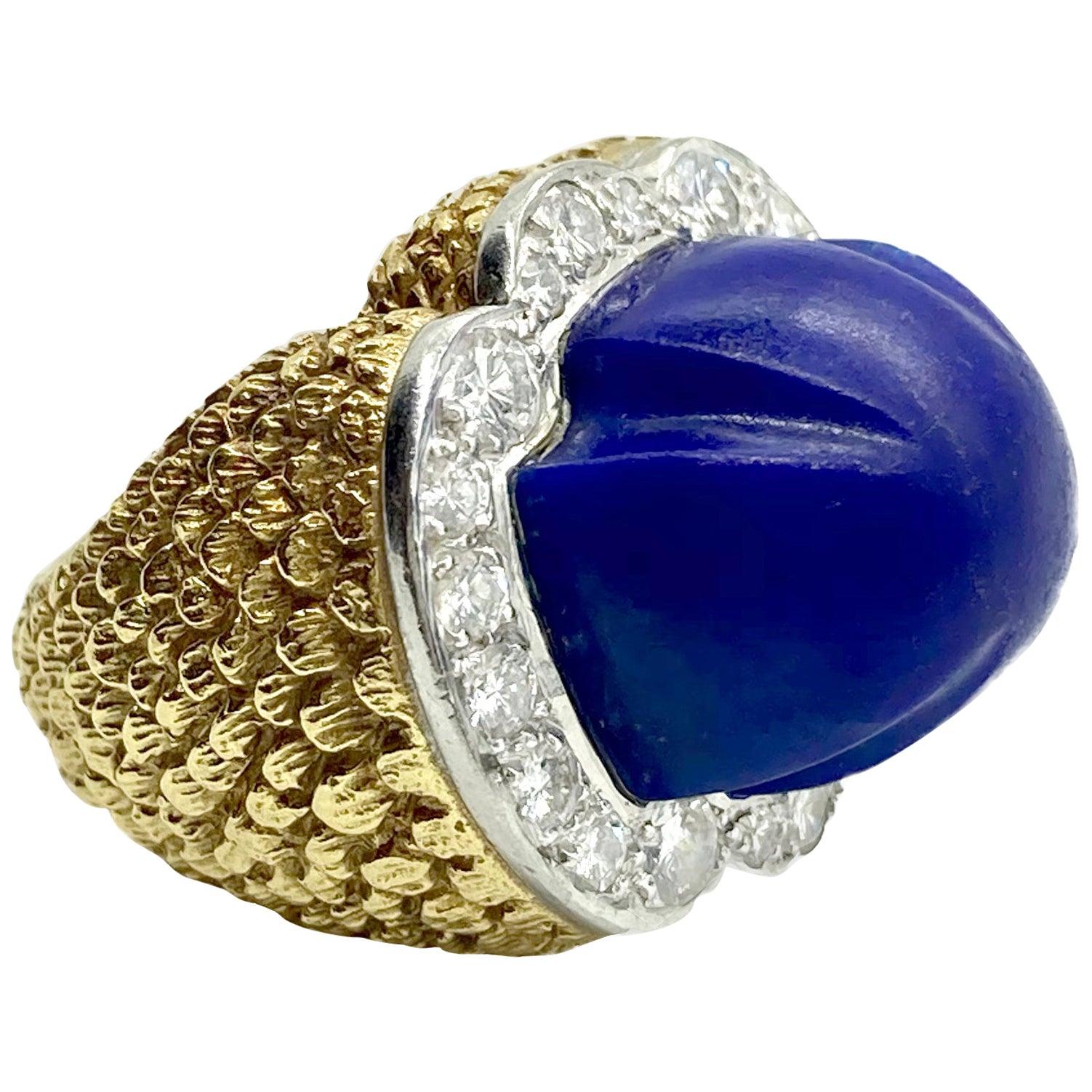 Lapis Lazuli and Diamond Textured Yellow Gold Dome Ring