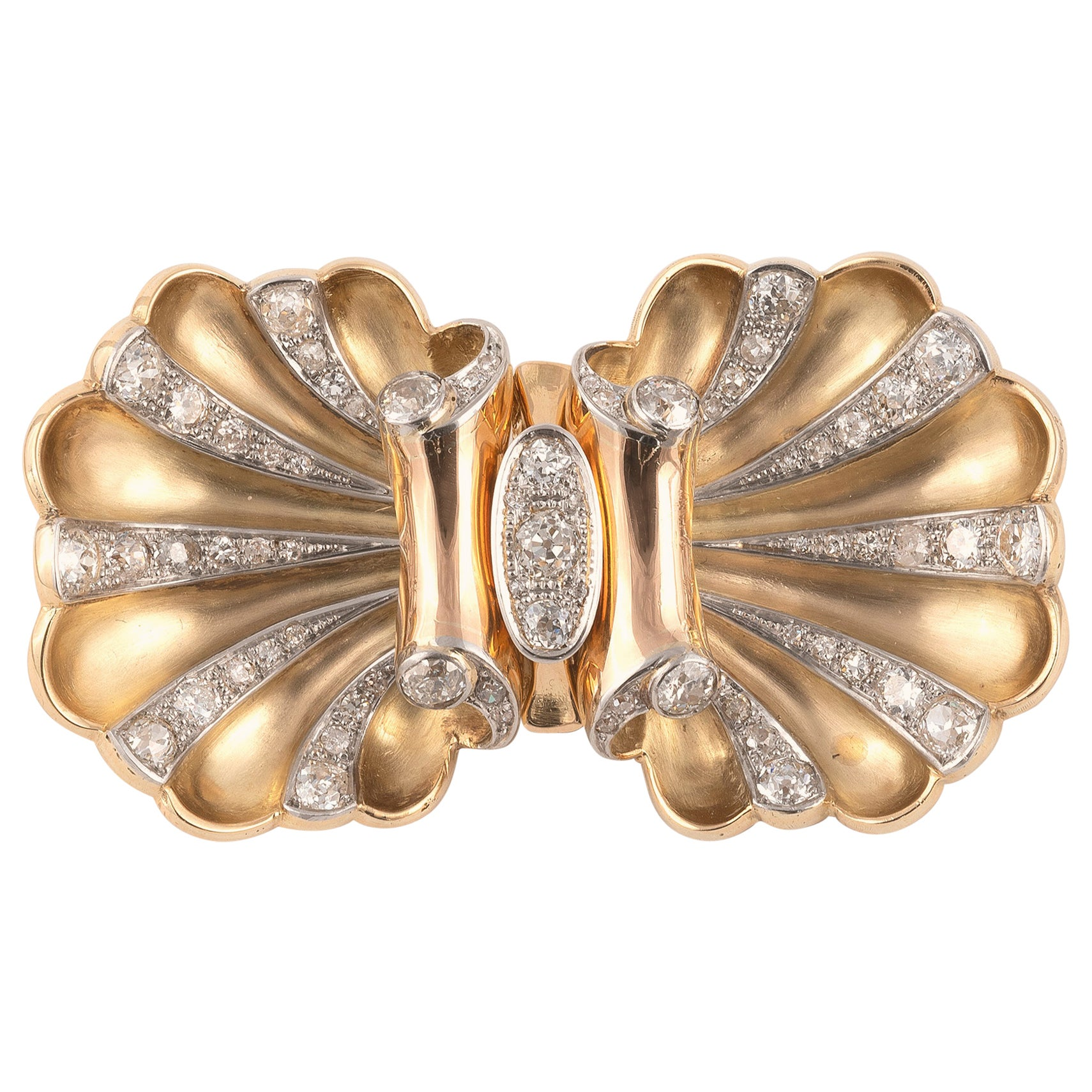 Diamond Double-Clip Brooch, circa 1940