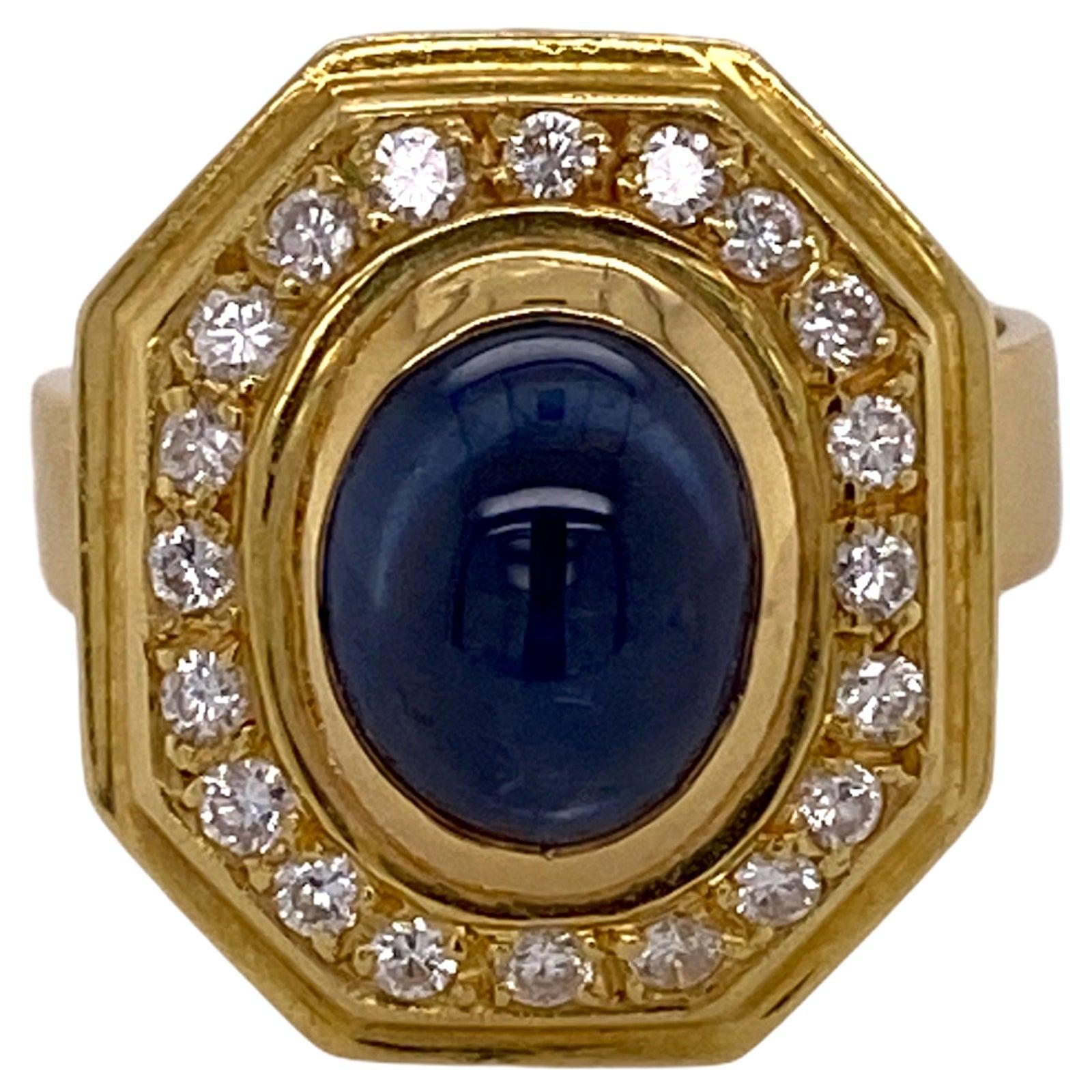 Natural Blue Sapphire Diamond 18 Karat Yellow Gold Estate Ring
