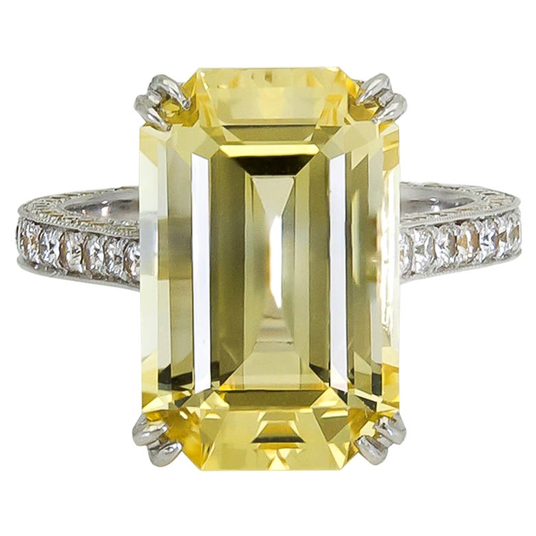 11.06 Carat Emerald Cut Yellow Sapphire and Diamond Engagement Ring