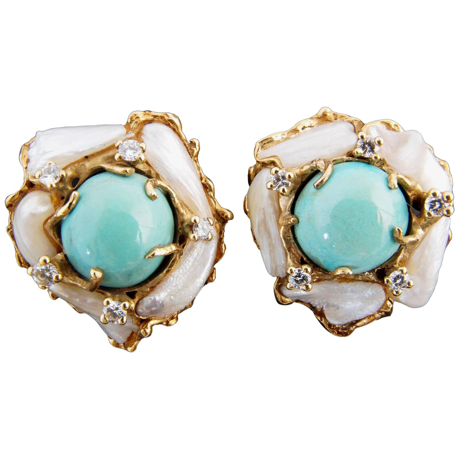 1970s Arthur King Persian Turquoise Pearl Diamond Gold Earrings At 1stdibs