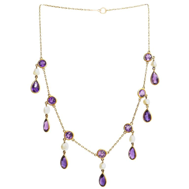 Victorian Amethyst Pearl Yellow Gold Pendants Necklace