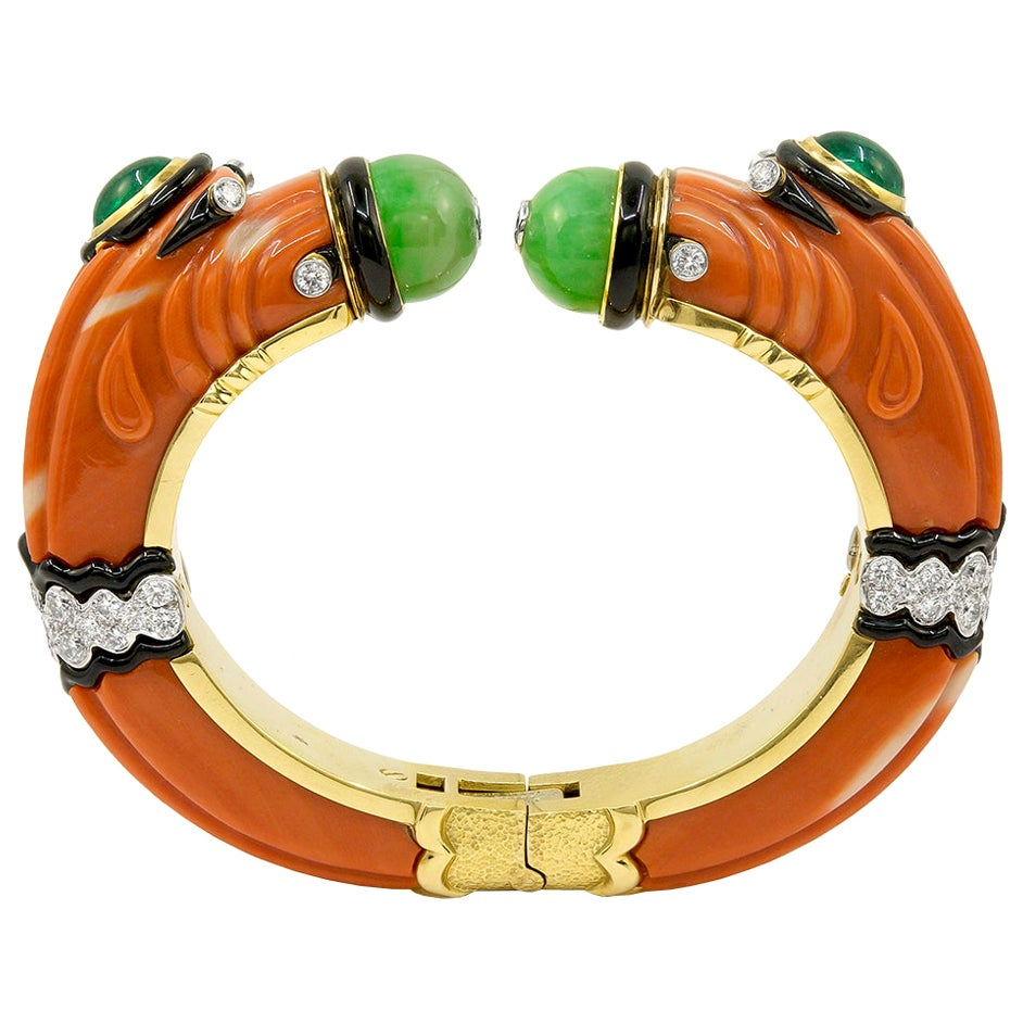 David Webb Carved Coral, Jade, Emerald, Diamond Chimera Bracelet