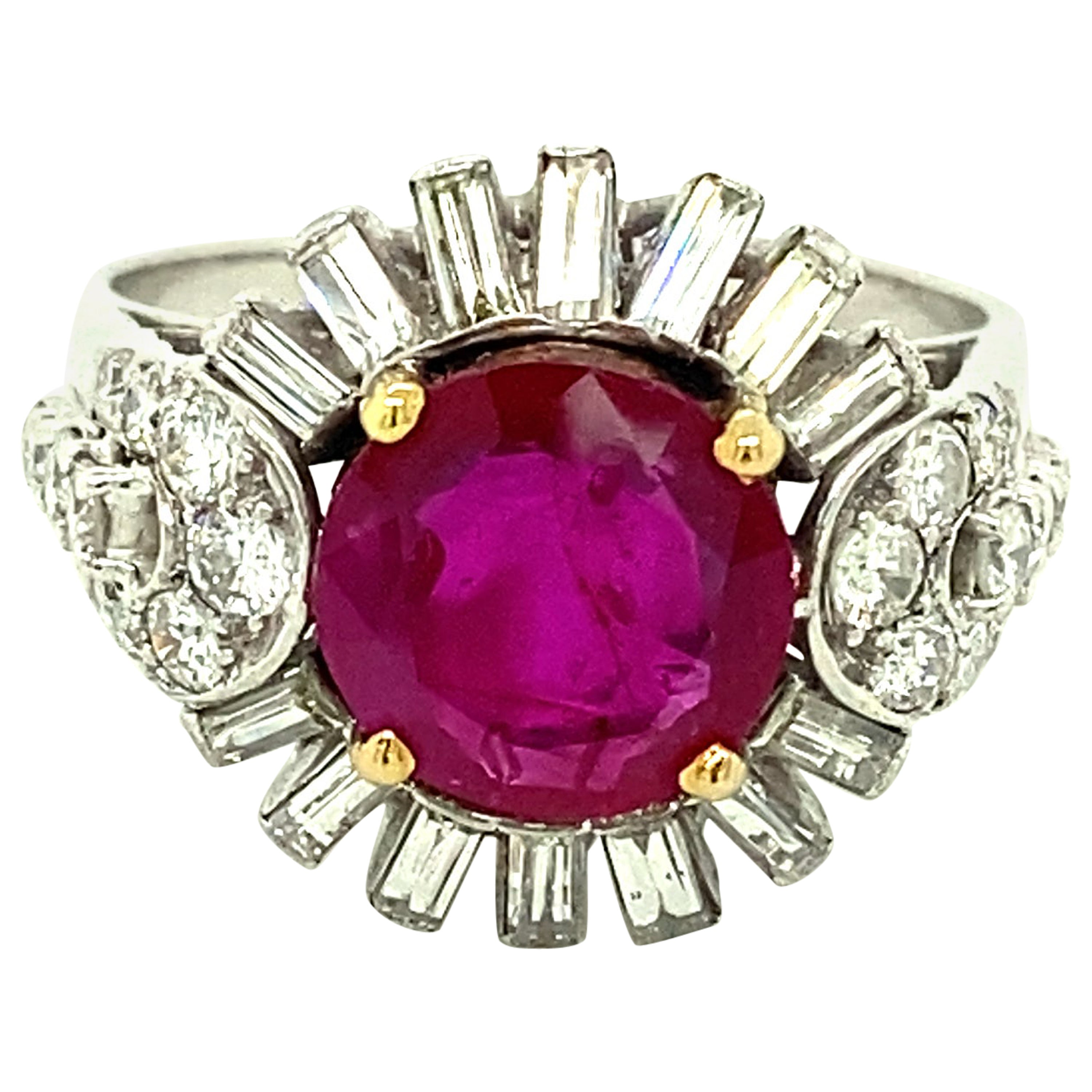 2.23 Carat Gubelin Certified Unheated Burmese Ruby and White Diamond Gold Ring