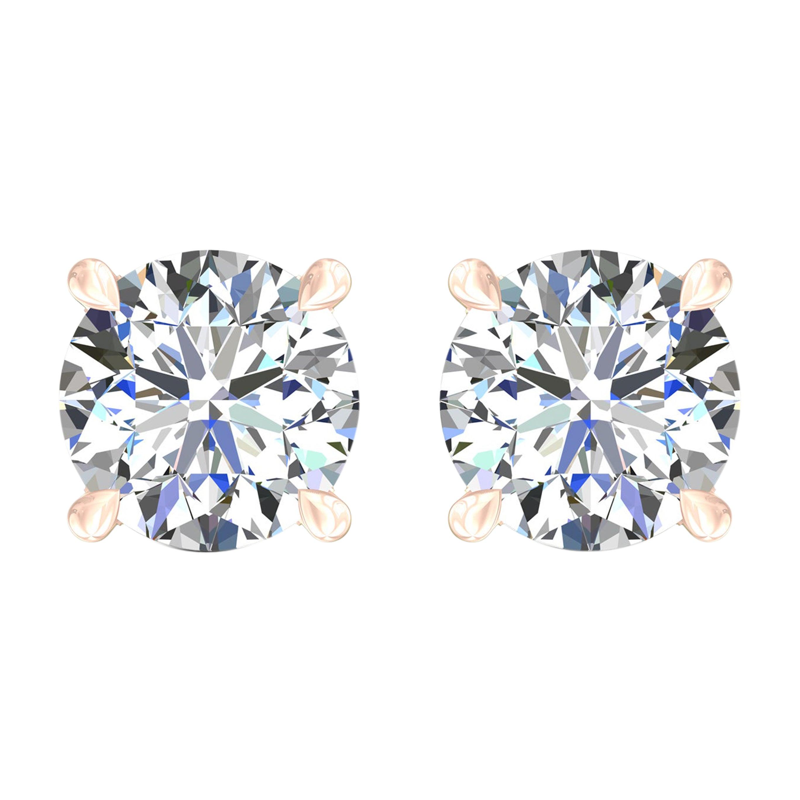 Harakh GIA Certified 0.80 Carat D-E Color VS2 Clarity 18KT Diamond Stud Earrings