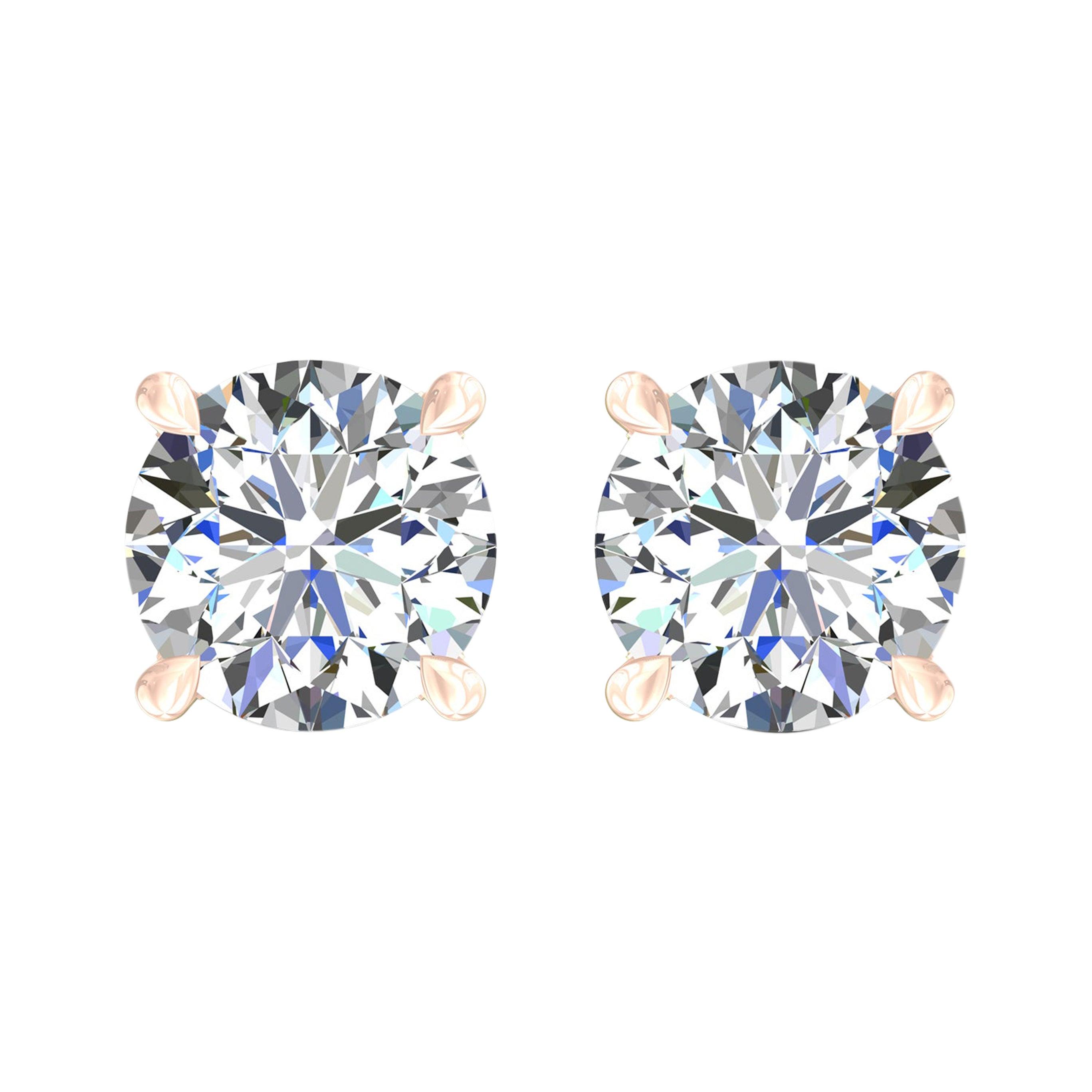 Harakh GIA Certified 0.68 Carat F Color VS2 Clarity 18 KT Diamond Stud Earrings
