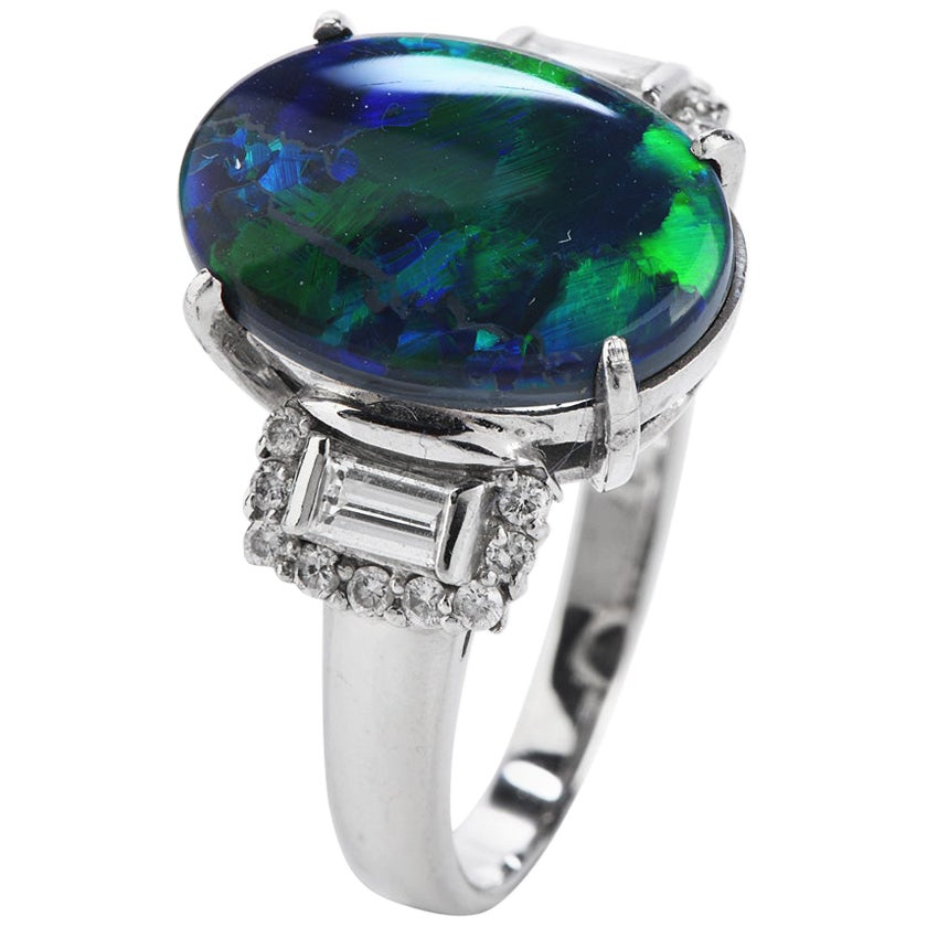 Black Opal Round and Baguette Diamond Platinum Cocktail Ring