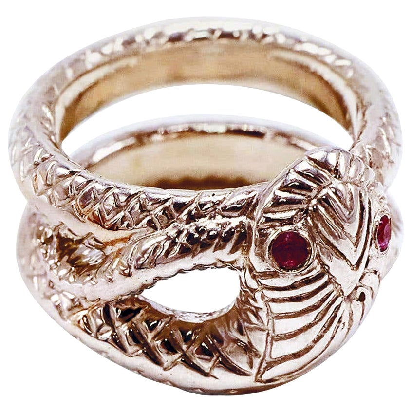 Victorian Style Cocktail Ring Ruby Eyes Snake Ring Bronze J Dauphin