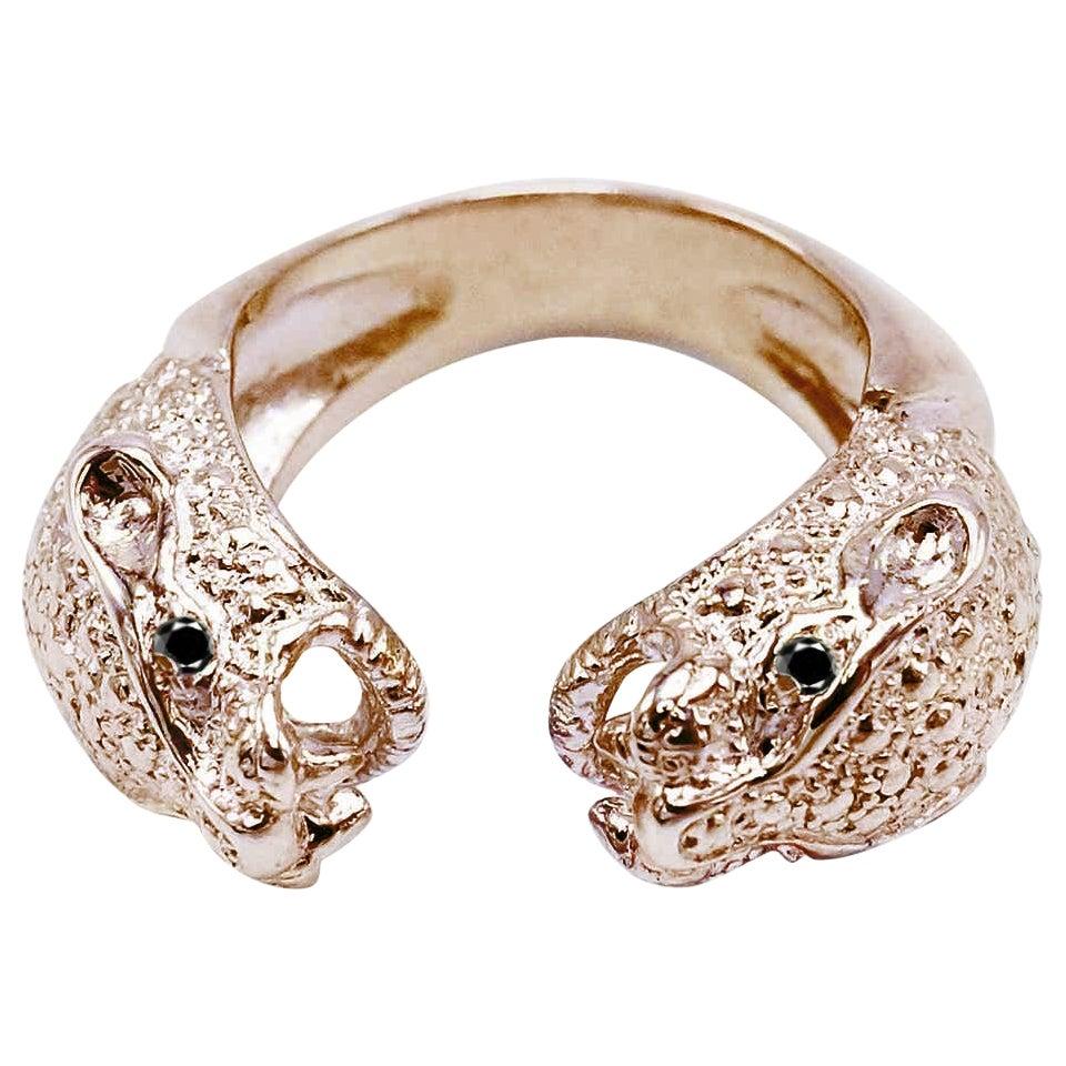 Black Diamond Jaguar Ring Cocktail Statement Onesie Bronze J Dauphin