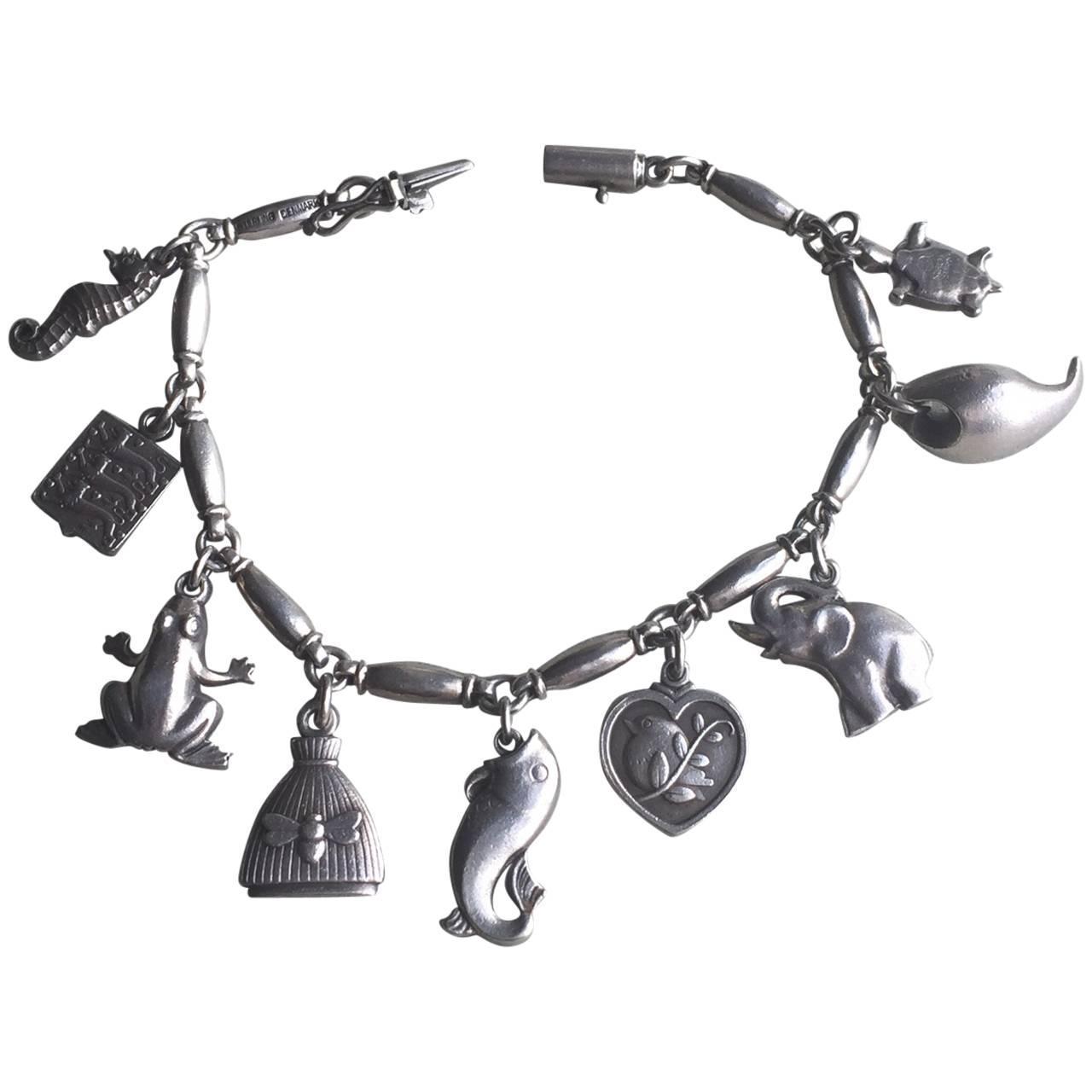 georg sterling silver charm bracelet no 43 at 1stdibs