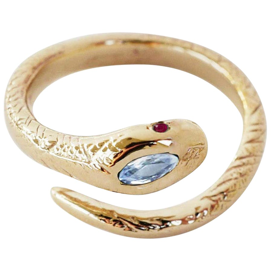 White Diamond Ruby Gold Snake Ring Victorian Style Cocktail Ring J Dauphin