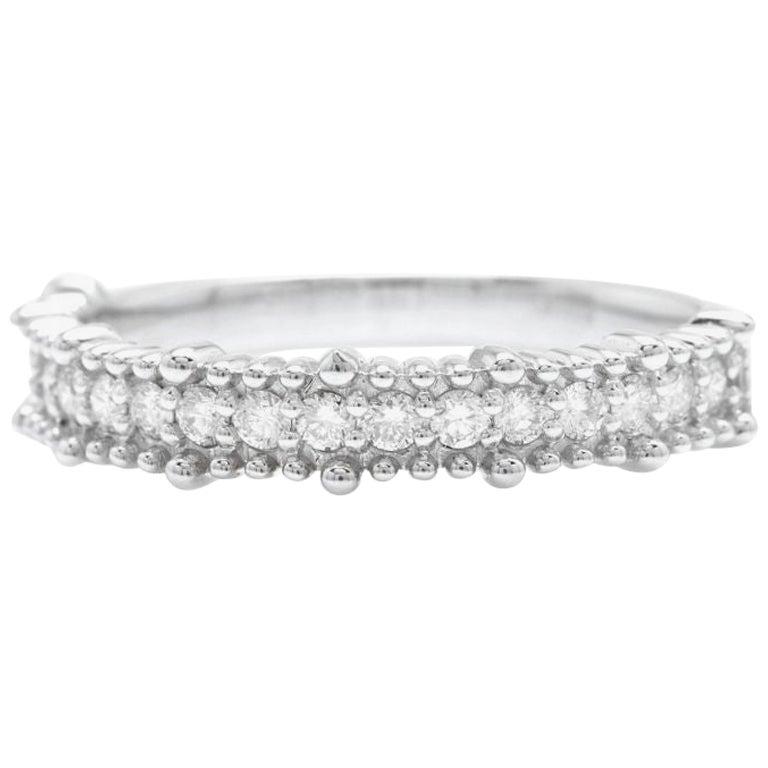 0.30 Carat Natural Diamond 14 Karat Solid White Gold Band Ring