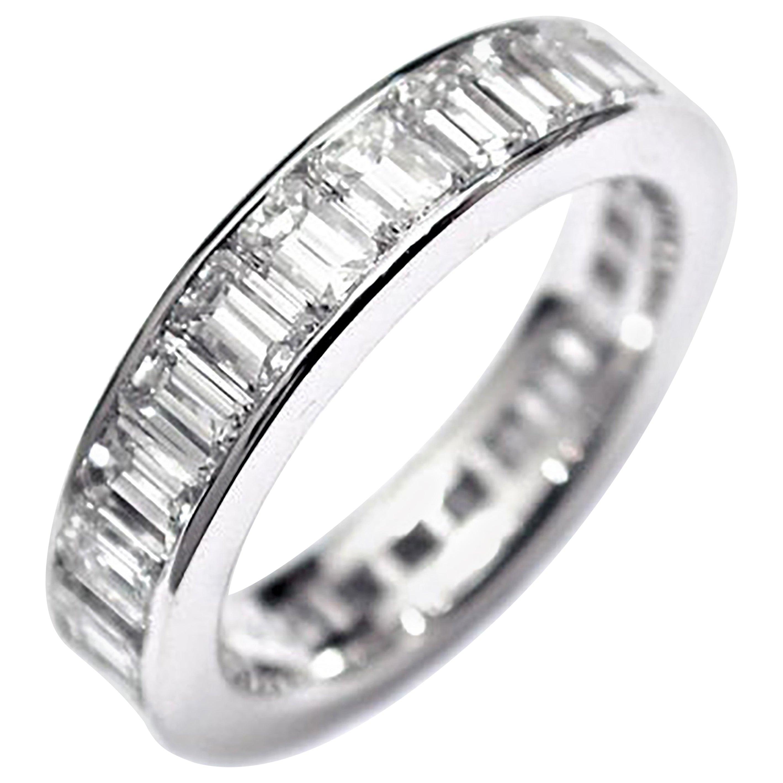 Platinum Emerald Cut Diamond Channel Set Eternity Ring Weighing 3.70 Carat