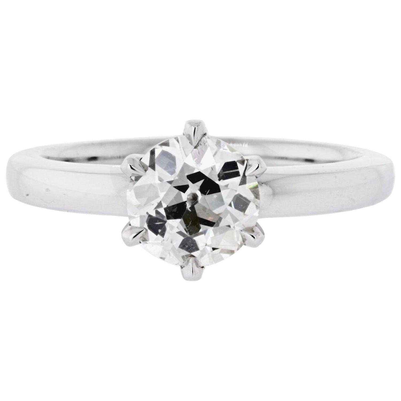 1.52 Carat Old European Cut Diamond M/VS2 GIA Six Prong Solitaire Ring