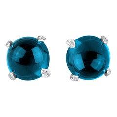 DiamondTown 7.86 Carat London Blue Topaz Earrings in 14 Karat White Gold