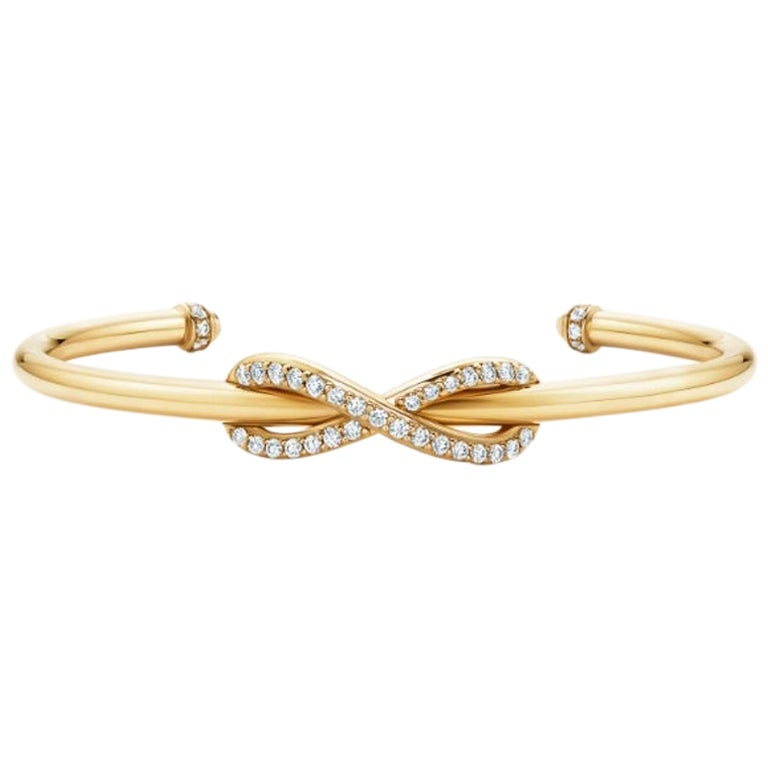 Tiffany & Co. Infinity Yellow Gold Diamond Cuff Medium Size