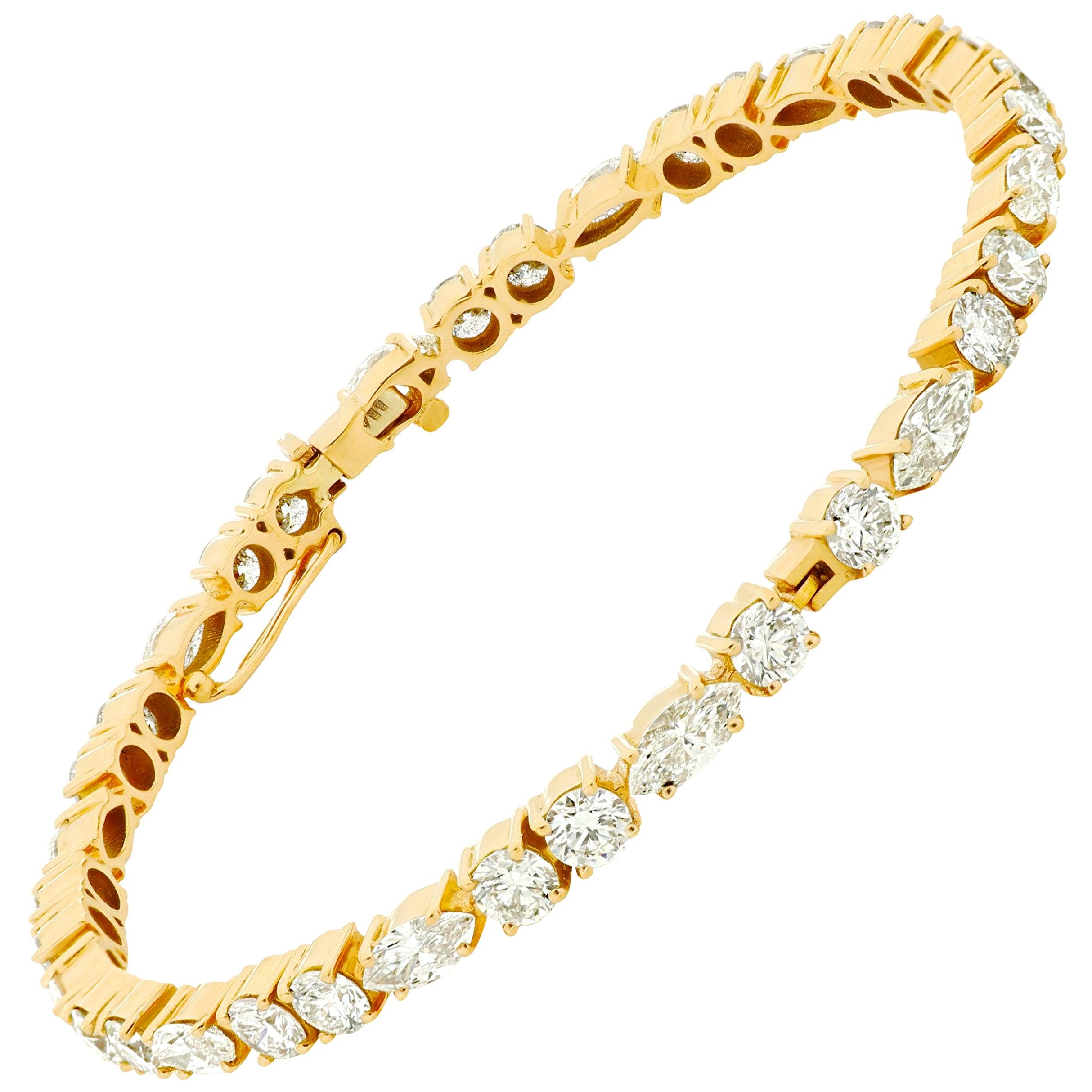 Amwaj Jewellery Marquise and Round Cut Diamond Bangle