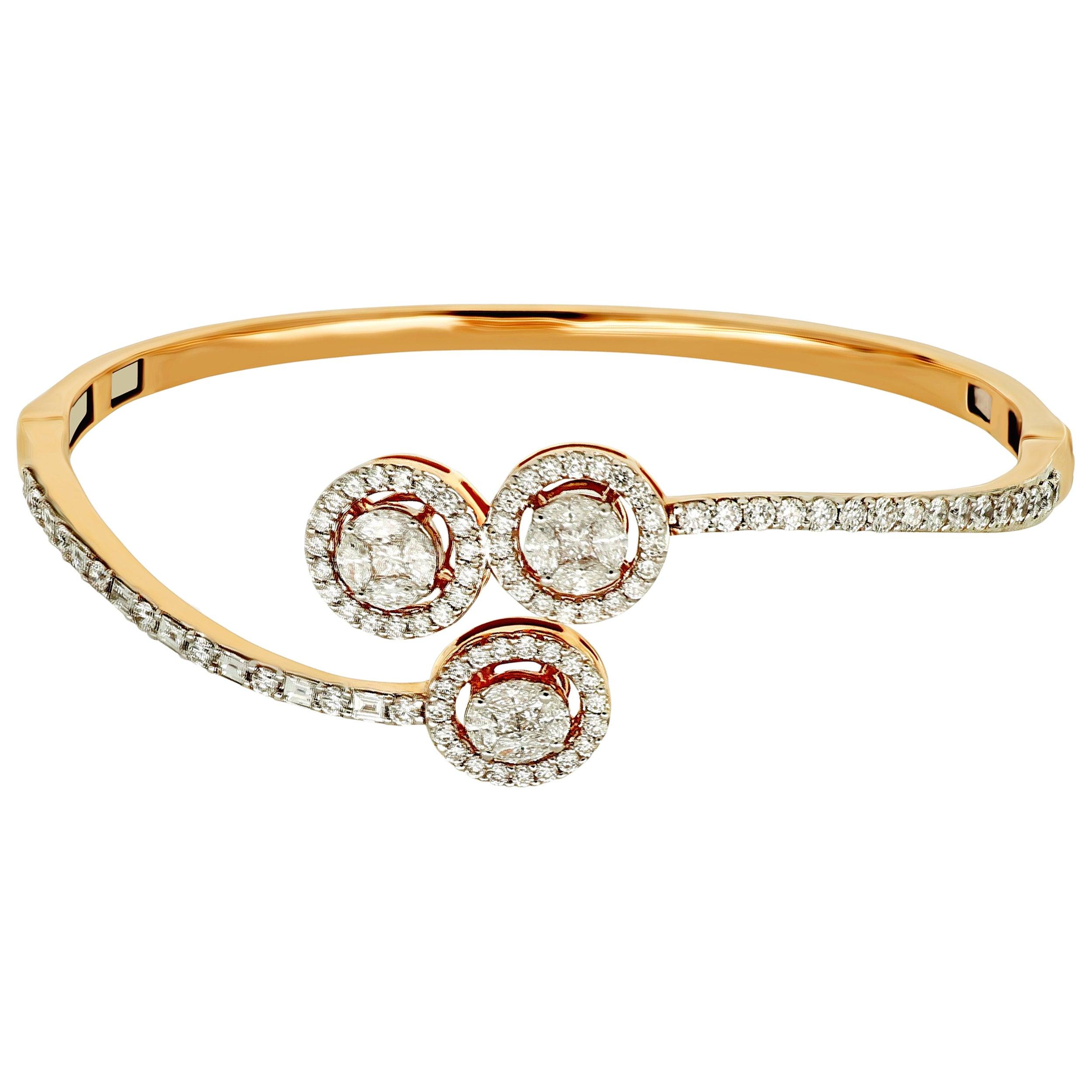 Amwaj Jewellery Round Cut Diamond Rose Gold Bangle