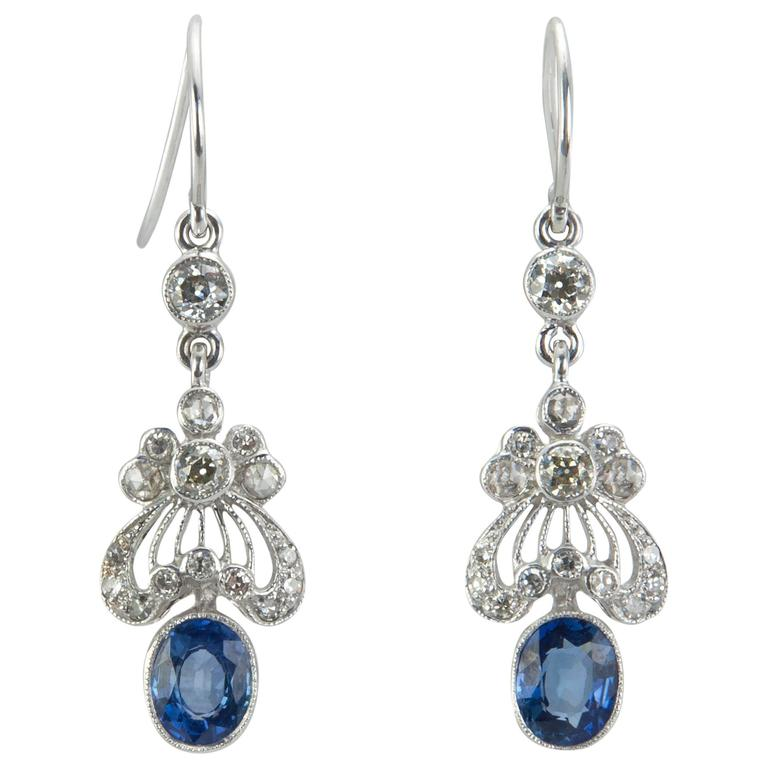 Edwardian Style Sapphire Diamond Gold Earrings